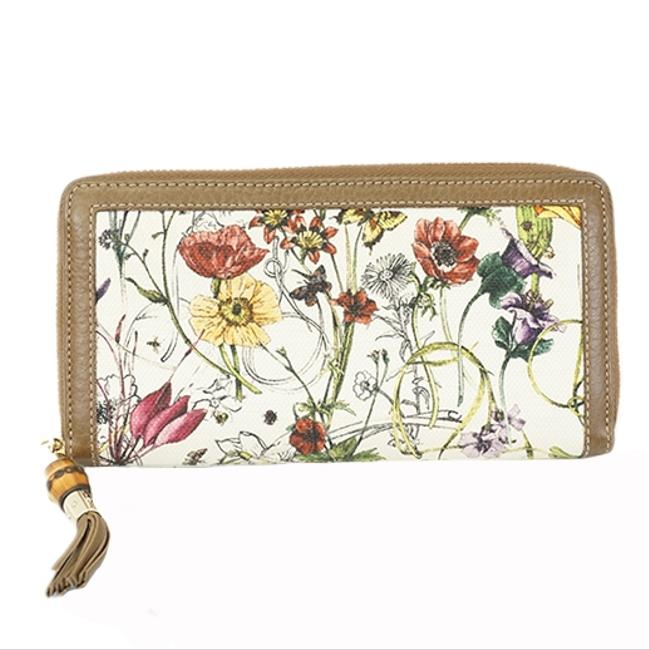 Item - White Long Folded Flora 307984 Women's Canvas (Bi-fold) Wallet