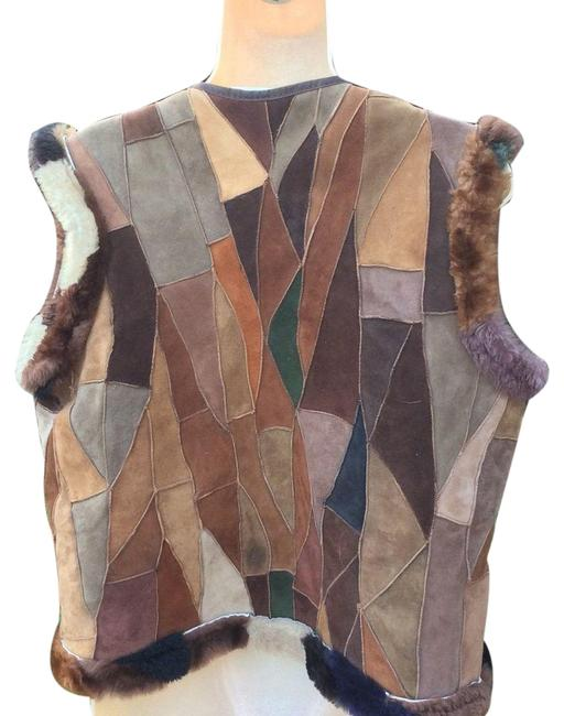 Item - Patchwork Suede Leather Reverse Shearling Vest Janis Joplin Style Maternity Outerwear Size 4 (S)