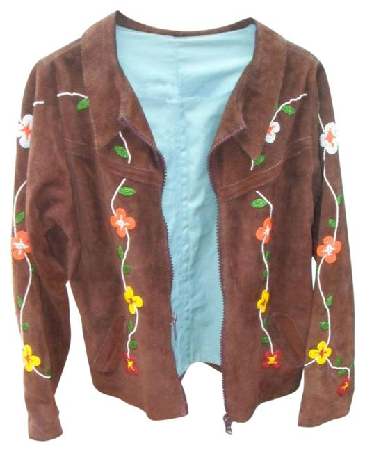 Item - Brown Native American Cree Beaded Leather Suede Beadwork Maternity Outerwear Size 8 (M)