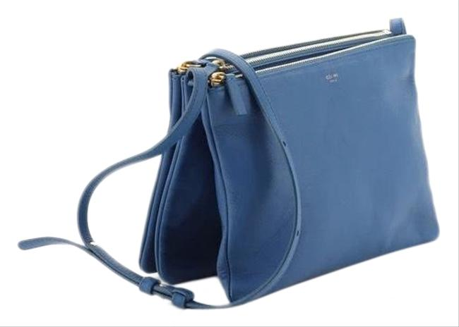 Item - Trio In Smooth Blue Lambskin Leather Cross Body Bag