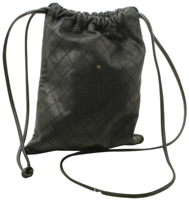 Item - Bag Drawstring Bucket Quilted 861827 Black Lambskin Leather Backpack