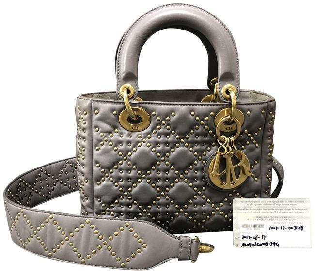 Item - Lady Studded Small Gray Lambskin Leather Shoulder Bag