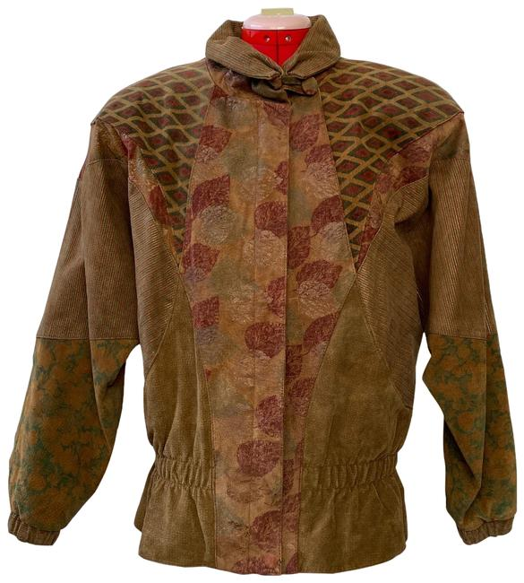 Item - Tan with Red and Green Suede Hand Painted Vintage Jacket Size 10 (M)