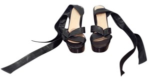 Robert Clergerie Platform Ankle Strap Ankle Bow Black Sandals
