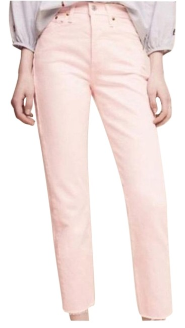 Item - Pink Acid Wedgie Rise Crop Button Straight Leg Jeans Size 28 (4, S)