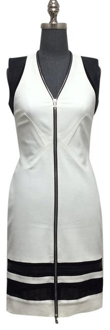 Item - Ivory/ Black Ivory/ Stretch Cotton/ Leather Zip Front Sleeveless Short Casual Dress Size 4 (S)