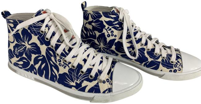 Item - Blue and White 591120 Hibiscus Print Blue/White Tie Up High Tops Sneakers Size EU 37.5 (Approx. US 7.5) Regular (M, B)