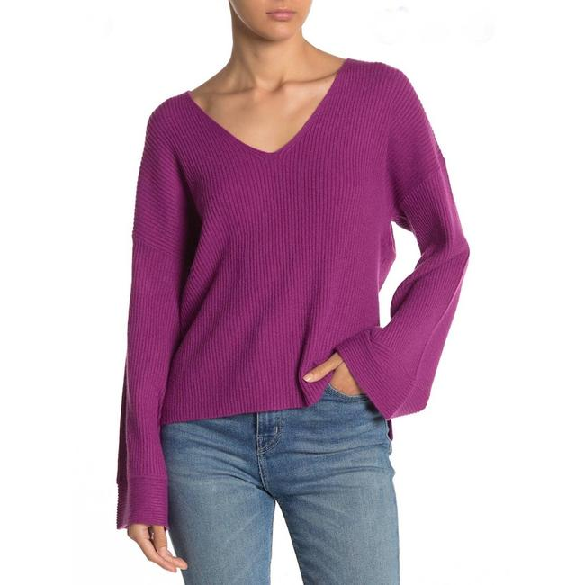 Item - Bell Sleeves V Neck Ribbed Purple Sweater