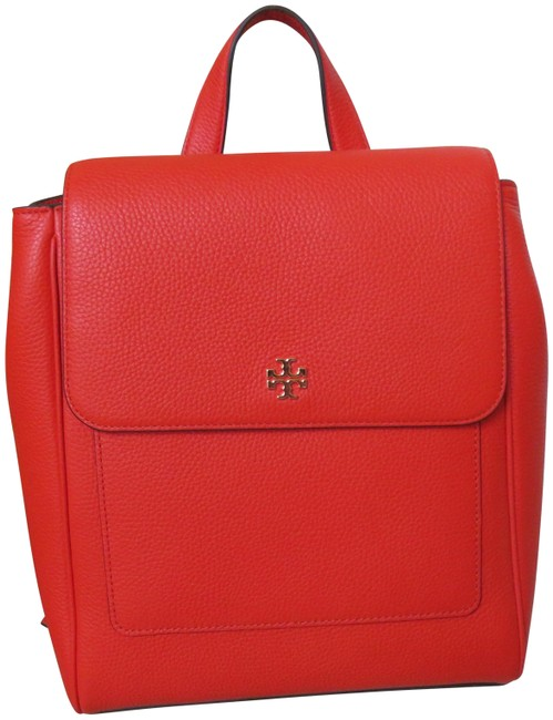Item - Carter Flap Orange/ Poppy Red Leather Backpack