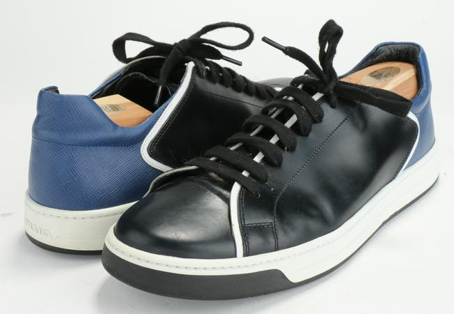 Item - Black/Blue/White Leather Sneakers Shoes