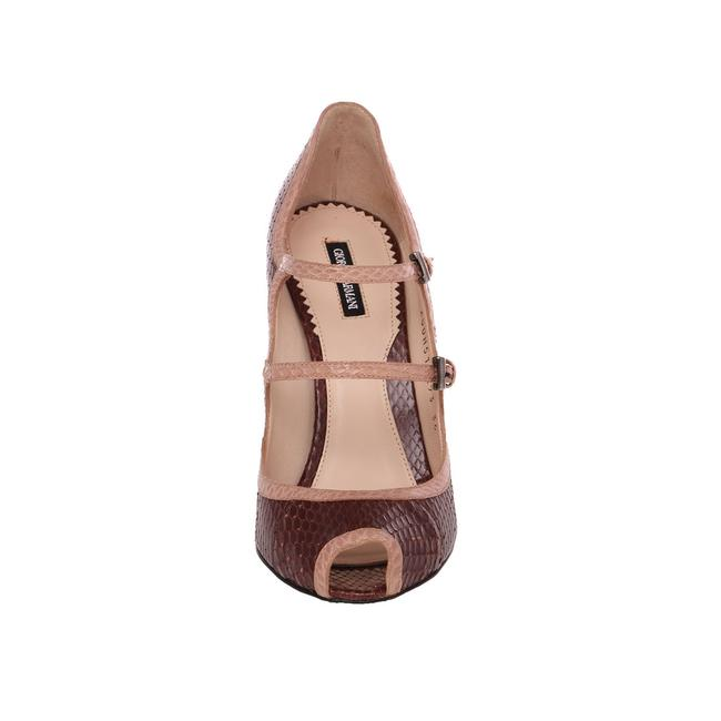 Item - Brown Women Snake Leather Peep Toe Mary Jane High Heel Pumps Size US 9 Wide (C, D)