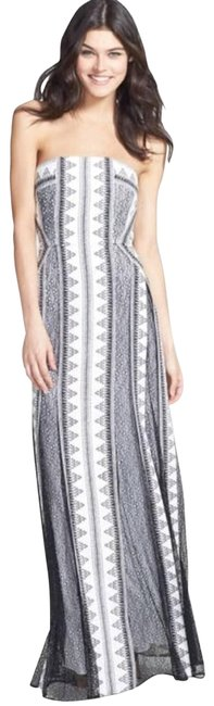 Item - White Black & Lace Strapless Gown Long Casual Maxi Dress Size 4 (S)
