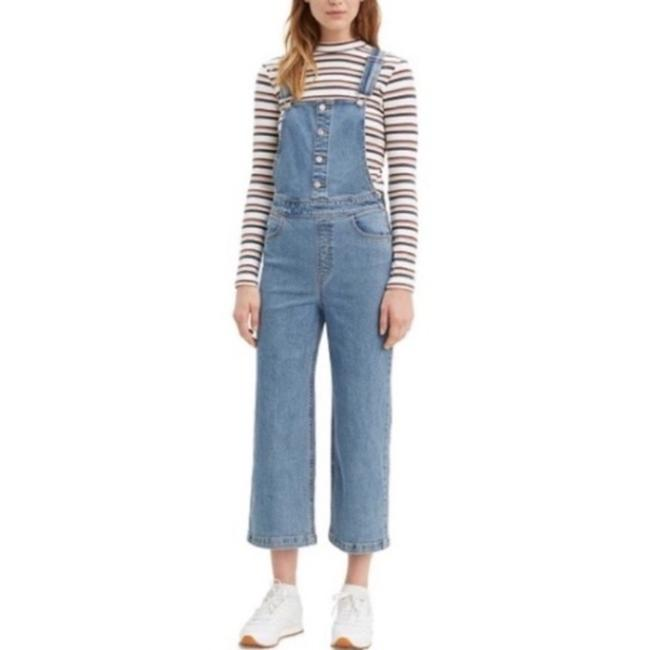 Item - Blue Medium Wash Mile High Cropped Overalls Straight Leg Jeans Size 24 (0, XS)