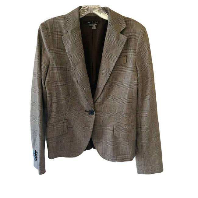 Item - Brown Plaid Wool Blend One Button Pleated Back Jacket Blazer Size 8 (M)