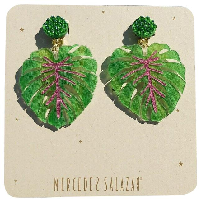 Item - Green Giant Leaves Clip On Embellished Earrings