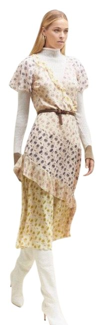 Item - Yellow Pink and Purple Floral Tiered Ruffle Midi Orita Mid-length Casual Maxi Dress Size 2 (XS)