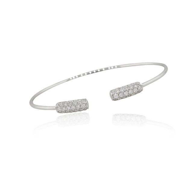 Unbranded 18k White Gold 1.50ctw Diamond 2 Station Pave Open Cuff Bangle Bracelet Unbranded 18k White Gold 1.50ctw Diamond 2 Station Pave Open Cuff Bangle Bracelet Image 1