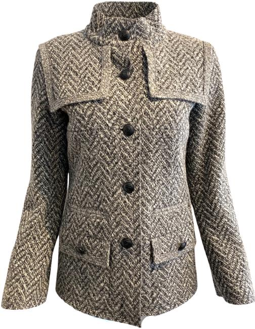 Item - Grey / Black 2008 Wool Tweed with Epaulettes Jacket Size 10 (M)