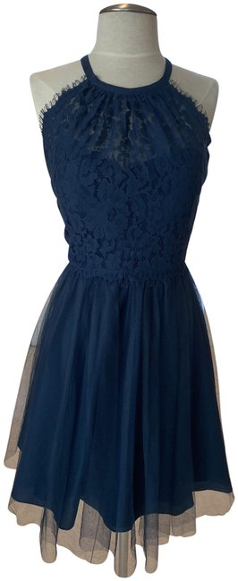 Item - Navy Alfred Sung Style # 22744 Short Cocktail Dress Size 8 (M)