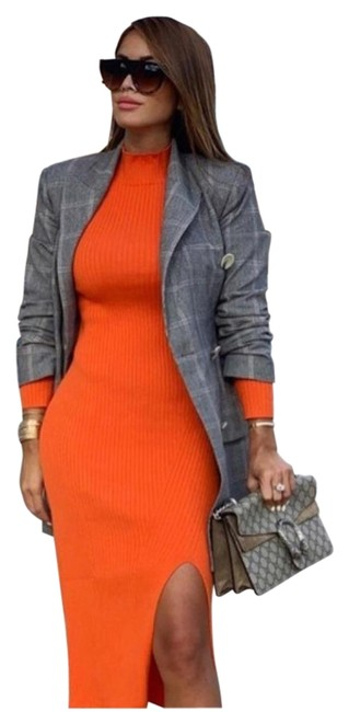 Item - Orange New Ribbed with Slit Ref 5584/002 Long Casual Maxi Dress Size 6 (S)