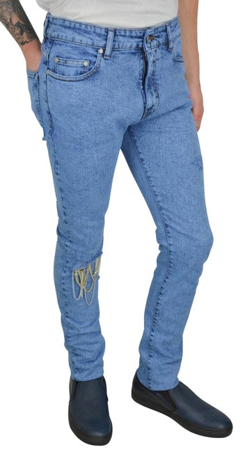 Item - Blue Distressed Johnny with Chains Straight Leg Jeans Size 33 (10, M)