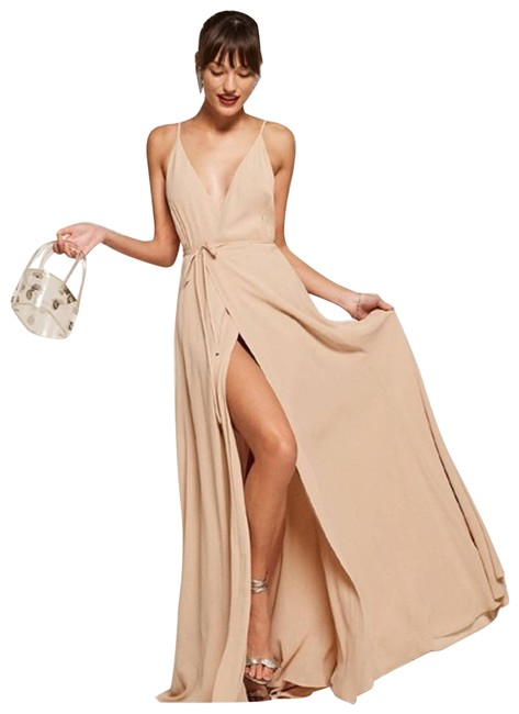 Item - Tan Callalily Champagne Long Formal Dress Size 4 (S)