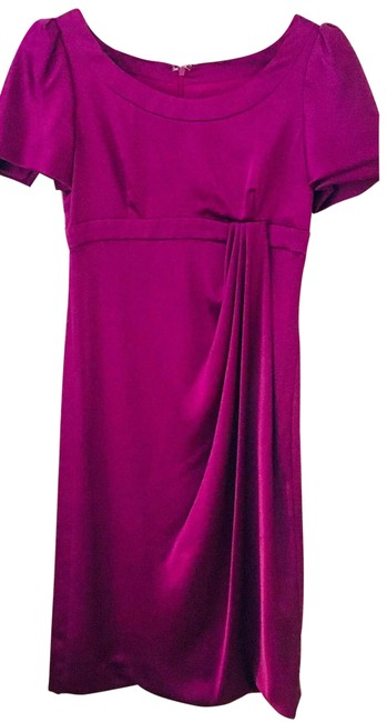Item - Magenta Pleated Midi Mid-length Cocktail Dress Size 6 (S)