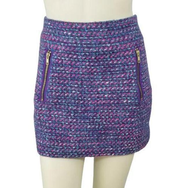 Item - Purple Pink Wool Blend Tweed Dolce Zip Accent Mini Pencil Skirt Size 4 (S, 27)