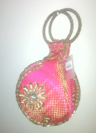 INDIAN BEAUTIFUL ART Canvas Free Shipping Beads Swarovski Crystal Pink & Gold Clutch