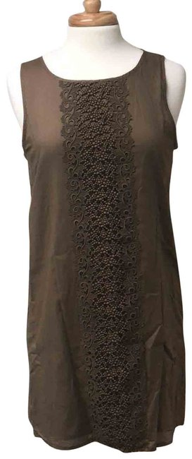 Item - Tan Embroidered Panel Linen Brown S Short Casual Dress Size 4 (S)