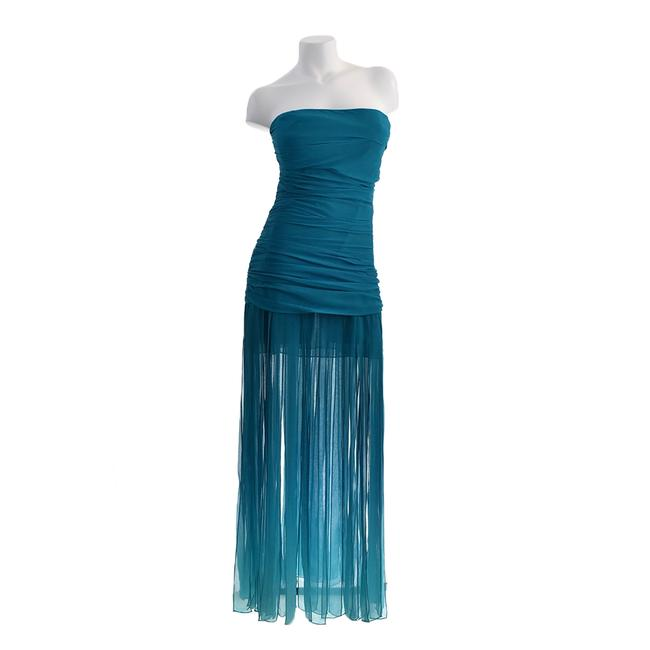 BCBGMAXAZRIA Teal Green Ombre Strapless Cocktail Party Evening Silk Chiffo Long Formal Dress Size 8 (M) BCBGMAXAZRIA Teal Green Ombre Strapless Cocktail Party Evening Silk Chiffo Long Formal Dress Size 8 (M) Image 1