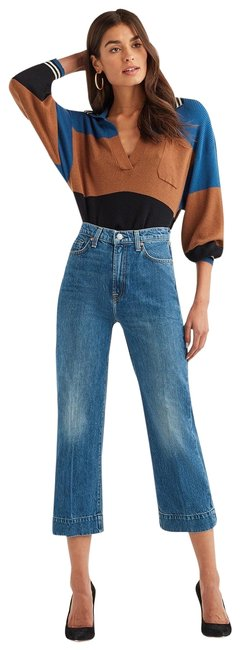 Item - Blue Medium Wash Baby Jo Cropped In Havana Rigid Trouser/Wide Leg Jeans Size 24 (0, XS)