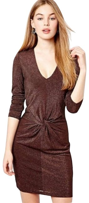 Item - Brown Twist XS Lizzey Metallic Copper Front Party Short Night Out Dress Size 0 (XS)
