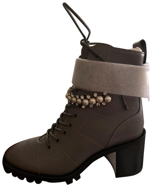 Item - Gray Cruz 65 Grained Leather Lace-up Combat with Crystal and Pearls Boots/Booties Size EU 35.5 (Approx. US 5.5) Regular (M, B)