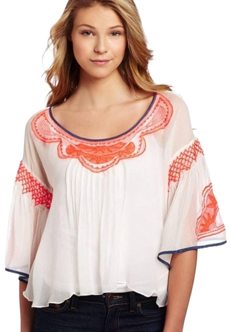 Item - White Anthropology 100%silk Embroidered -med Blouse Size 8 (M)