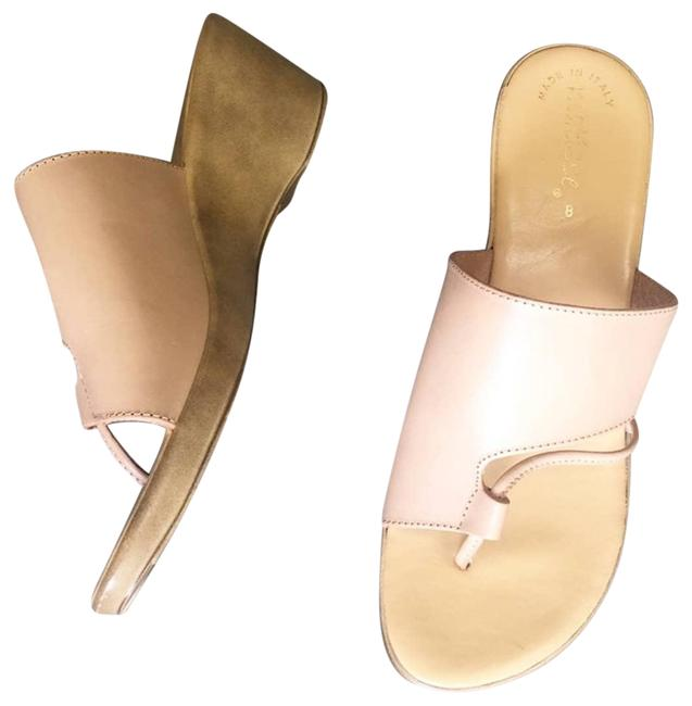 Item - Cream Leather Slide In Nude Wedges Size US 8 Regular (M, B)