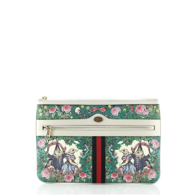Item - Multicolor Print White Ophidia Zip Pouch Limited Edition Printed Coated Canvas Large