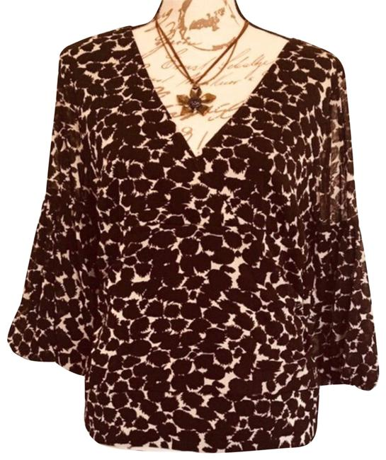 Item - Brown XL Animal Print V Neck Bell Sleeves 3/4 Blouse Size 16 (XL, Plus 0x)
