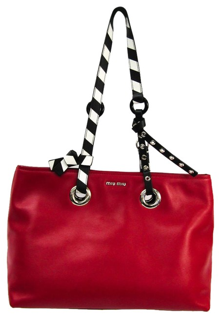 Item - Bag Women's Black / Red Color / White Leather Tote