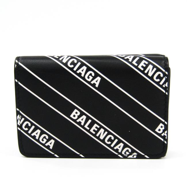 Item - Black / White Everyday Compact 551921 Unisex Leather (Tri-fold) Wallet