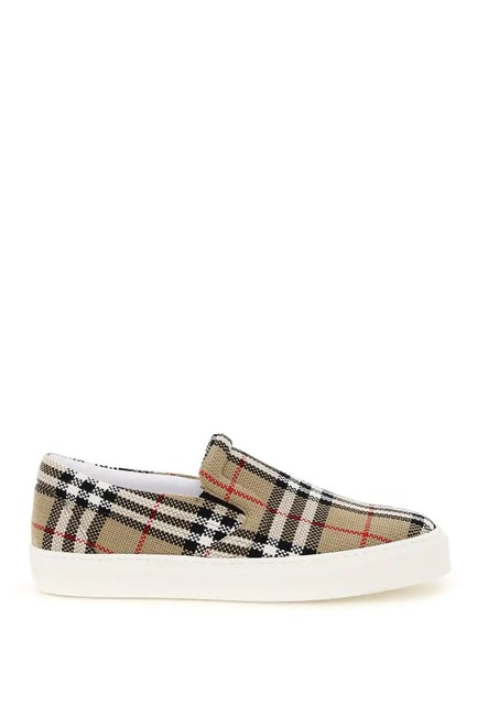 Burberry Beige/Black/Red Cr Thompson Canvas Slip-on Sneakers Size EU 39 (Approx. US 9) Regular (M, B) Burberry Beige/Black/Red Cr Thompson Canvas Slip-on Sneakers Size EU 39 (Approx. US 9) Regular (M, B) Image 1