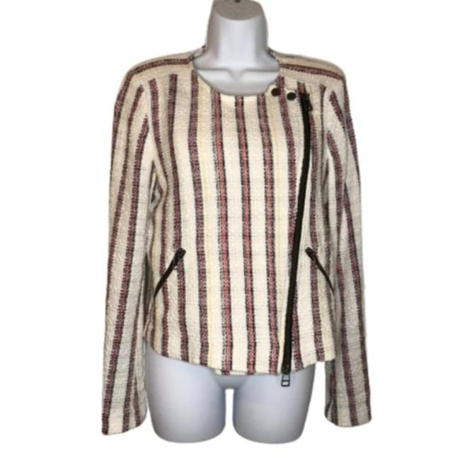 Item - White Red Black and Yellow Linen Blend Striped Biker Jacket Size 8 (M)