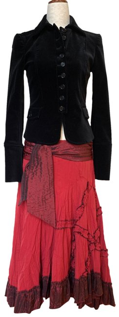 Item - Red Crinkle Pleated Ruffle Full Skirt Size 12 (L, 32, 33)
