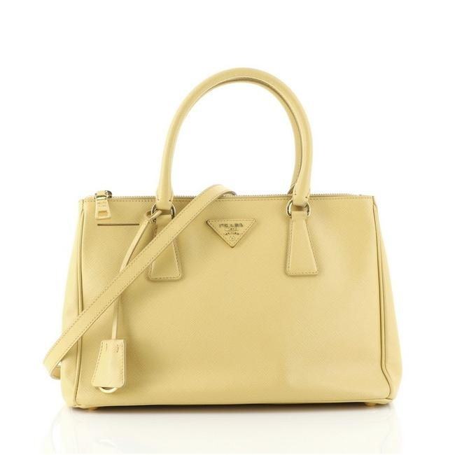 Item - Double Lux Zip Saffiano Small Yellow Leather Tote