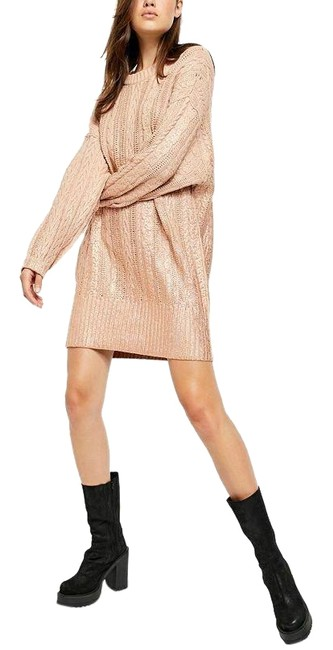 Item - Gold As Sweater Short Night Out Dress Size 4 (S)