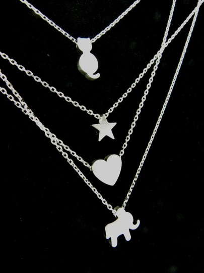 Silver Heart Tiny Heart Mini Heart Rhodium Plated Simple Necklace