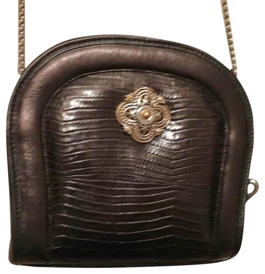 Preload https://item5.tradesy.com/images/brighton-black-silver-embellishment-and-chain-leather-lizard-pattern-on-front-shoulder-bag-2828389-0-1.jpg?width=440&height=440