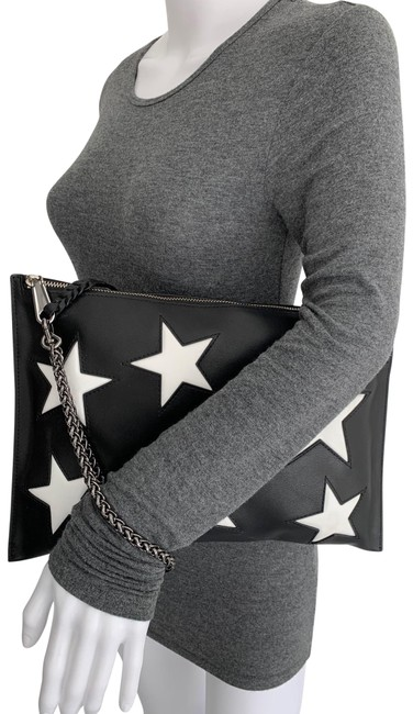 Item - Stars Wristlet Handbag Black White Leather Clutch