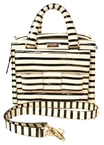1e0d8b520b75 Kate Spade Striped Little Kennedy Crossbody Patent Leather Tote in Black  and White