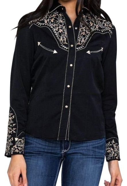 Item - Black Silver Women Western Embroidered S Shirt Small Blouse Button-down Top Size 4 (S)